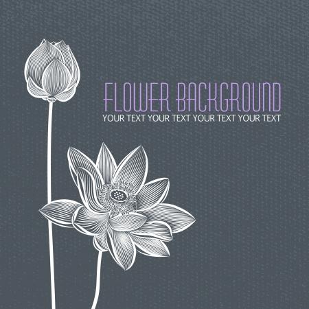 flor loto: Abstracto moderno flor azul-gris de fondo, con espacio para el texto del título Vectores