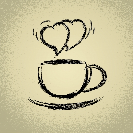 Cup of hot coffee  Heart-shaped steaming  Stock Vector - 18589865