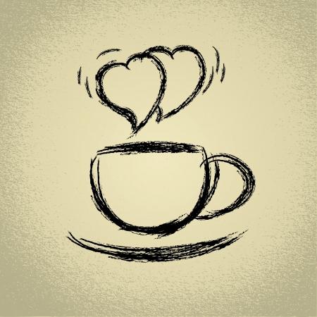 Tasse de café chaud en forme de coeur à la vapeur Illustration
