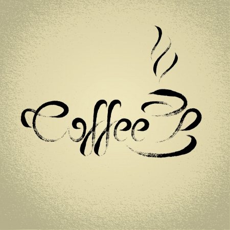 Coffee sign  with the title  ideal for cafe menu  brushwork style Vector