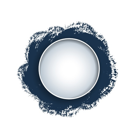 brushwork: Blue round elements on brushwork background with place for text Illustration