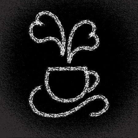 steaming: Cup of hot coffee  Heart-shaped steaming On the blackboard Vector eps10 illustration