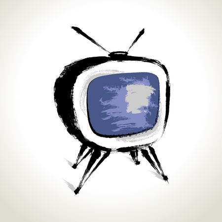 tv station: Vector  Old Television Drawing with Brushwork