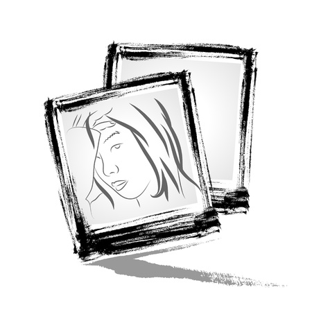 Vector   Photo frame with brushwork style  Vector