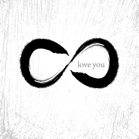 Vector  Infinity love symbol with grunge brushwork style