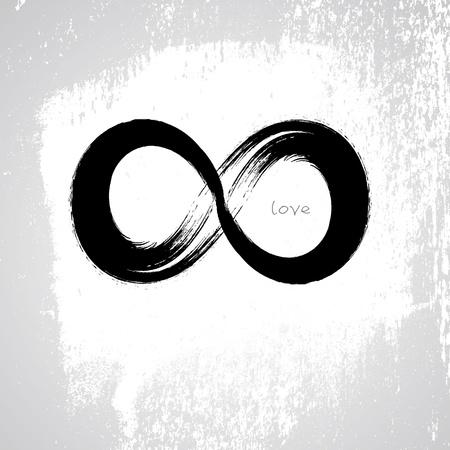 Symbole vecteur amour infini avec un style grunge pinceau
