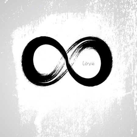 Vector  Infinity love symbol with grunge brushwork style  Vector
