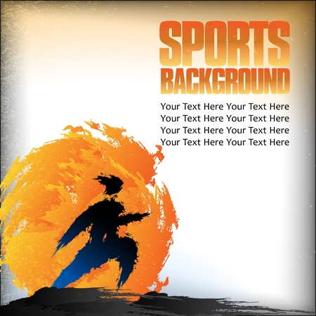 Illustration of runner silhouette on background with space for text Illustration