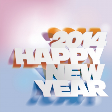2014   Letter Folding with Paper, Happy New Year Stock Vector - 18752883