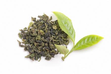 Tea tree: Fresh tea and tea finished products on white background
