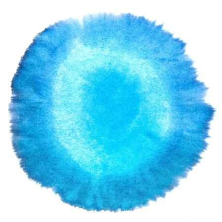 aquarelle painting art: Blank Blue Abstract Smudged Watercolor Macro  circularity Texture Background  Freehand Circle Drawing with Space for Your Image or Text