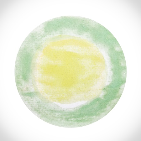 Abstract watercolor painted round dot isolated on white background with clipping path. Circle drawn at random. Stock Photo - 20169152
