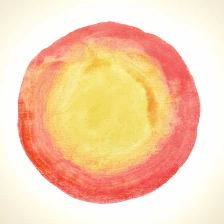 Abstract watercolor painted round dot isolated on white background with clipping path. Red circle drawn at random. Stock Photo - 20169162