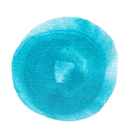 Abstract watercolor painted round dot isolated on white background with clipping path.Blue circle drawn at random. Stock Photo - 20169158