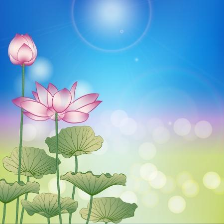 Lotus flower under the sun on blue sky. Illustration