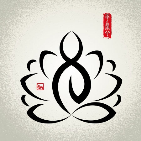 Lotus en Zen meditatie Stock Illustratie
