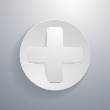 addition: simple paper-cut style, circular icon, plus