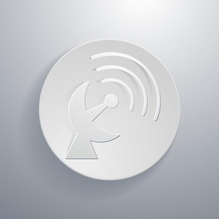 transmitting: simple paper-cut style, circular icon, satellite dish symbol