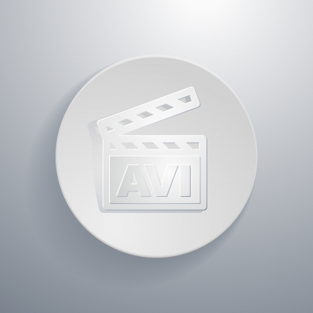 pause button: simple paper-cut style, circular icon, clapper board with AVI symbol