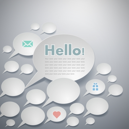 talk big: Vector simple paper-cut style, big greetings talk bubble, business cards.