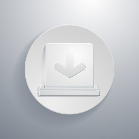 downloading: Vector simple paper-cut style, circular icon, downloading symbol