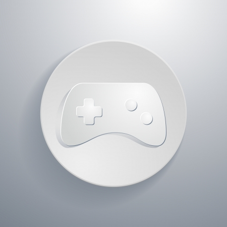 simple paper-cut style, circular icon, game controller  Stock Vector - 21080567