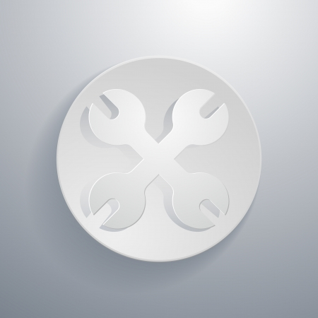 simple paper-cut style, circular icon, wrench  向量圖像