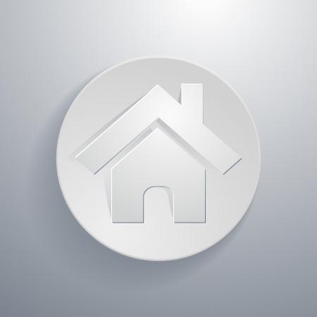 simple paper-cut style, circular icon, home symbol Vector