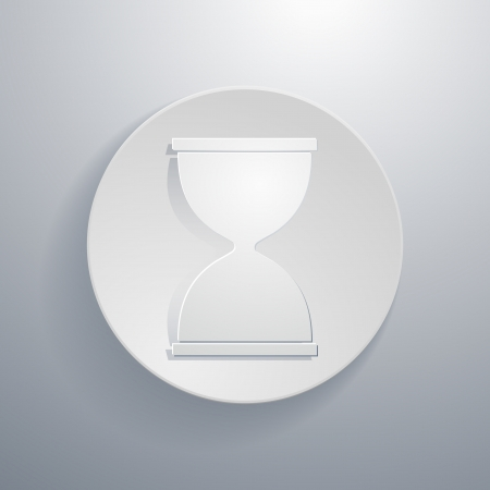 simple paper-cut style, circular icon, hourglass symbol Vector