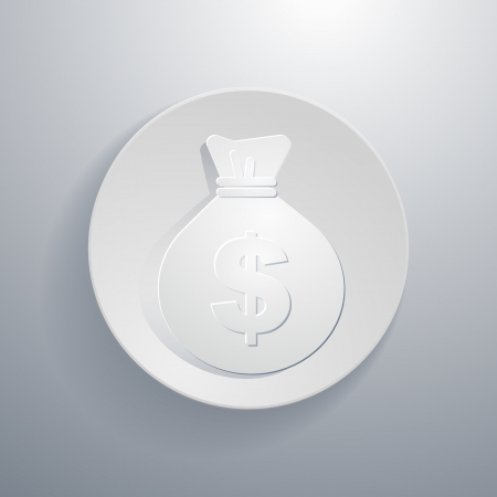 simple paper-cut style, circular icon,moneybag symbol Vector