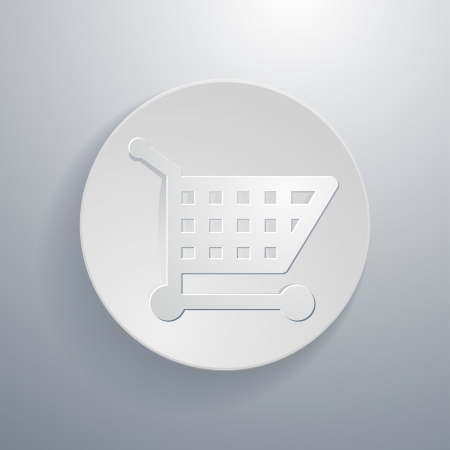 simple paper-cut style, circular icon, shopping cart symbol Vector