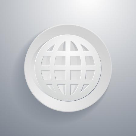 simple paper-cut style, circular icon, world symbol Stock Vector - 21080570