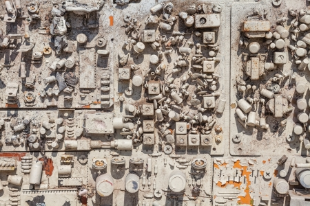 close-up of electronic circuit board with white painted photo