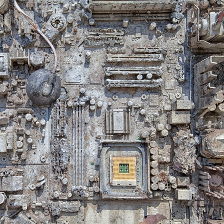e waste: close-up of electronic circuit board  Stock Photo