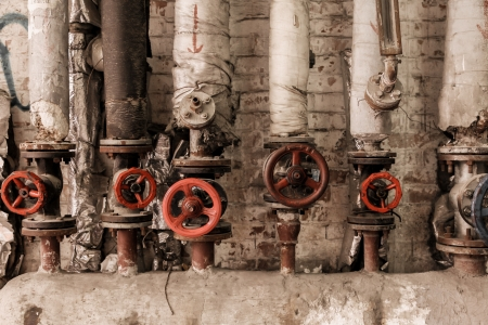Valves of old steam at factory photo
