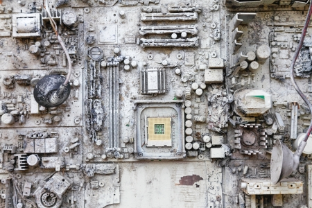 e waste: close-up of electronic circuit board with white painted