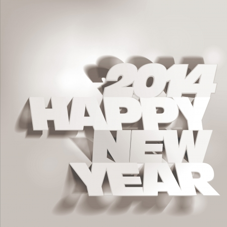 2014:  Letter Folding with Paper, Happy New Year Illustration