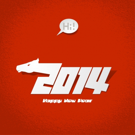 2014: New Years card, year of horse  Vector