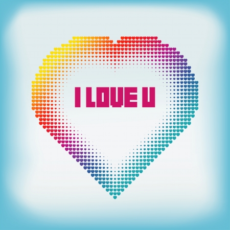 Gradient Colorful Heart Halftone Abstract Background Vector