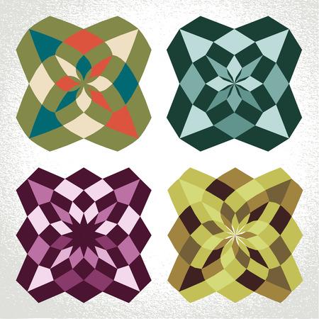 flower patterns: Vector: retro klassieke vierkante geometrische bloemmotieven Stock Illustratie