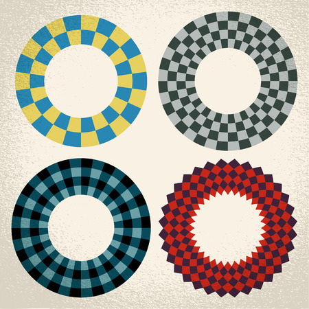 copy center: Vector: colorful checkered circle frame background with center isolated for copy space