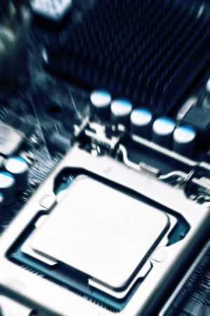 Multiphase power system modern processor and motherboard, circuit of high technology. photo