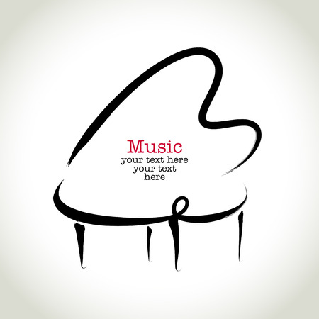 piano de cola: Dibujo piano con pinceladas Grunge