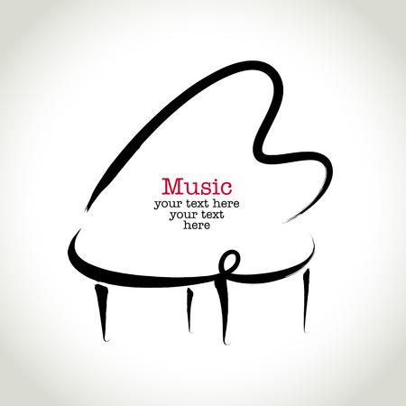 fortepian: Grunge rysunek fortepianie z pędzla