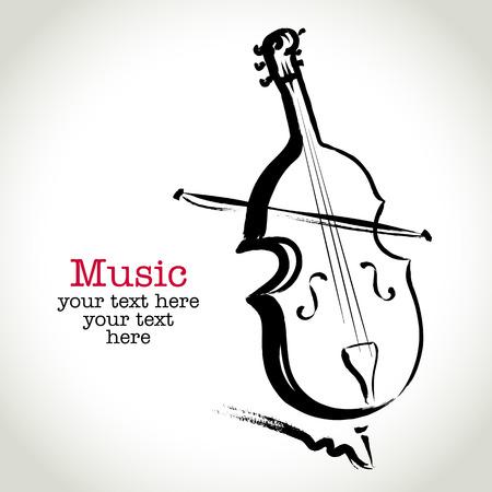 Dessin violoncelle avec pinceau grunge