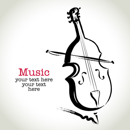 Grunge drawing cello with brushwork Vector
