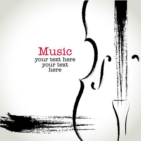 musica clasica: Dibujo cello con pinceladas Grunge