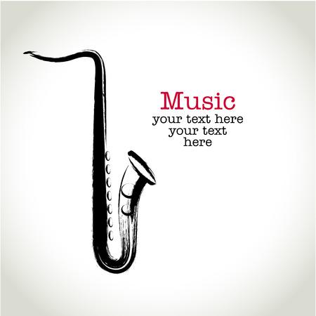 Grunge drawing saxophone with brushwork Çizim