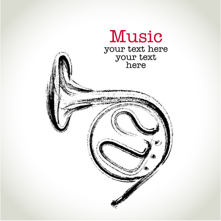 Grunge drawing french horn with brushwork Vector