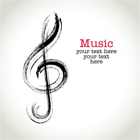 violines: Dibujo clef negro con pinceladas de Grunge